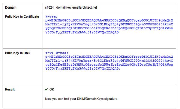 Test DKIM public key