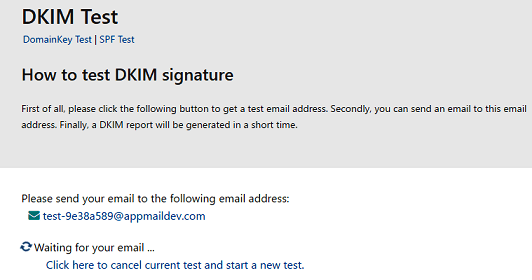 DKIM test address