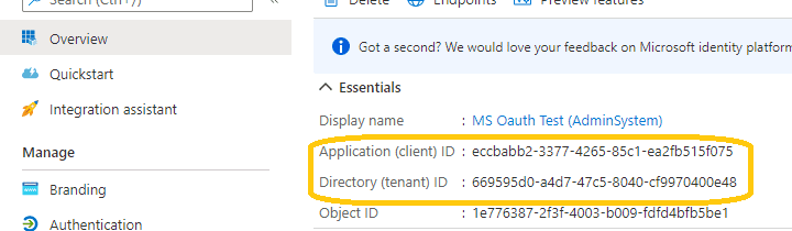 azure application client id and tenant