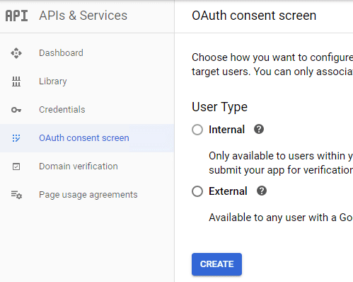 create Gmail oauth consent