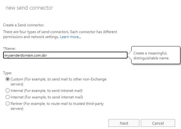 create new send connector in Exchange Server