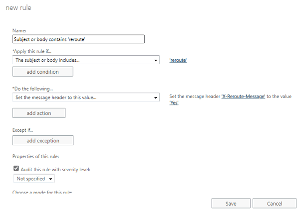 Create new transport rule in Exchange Server