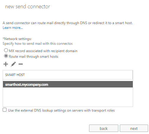 send connector networking settings smart host in Exchange Server