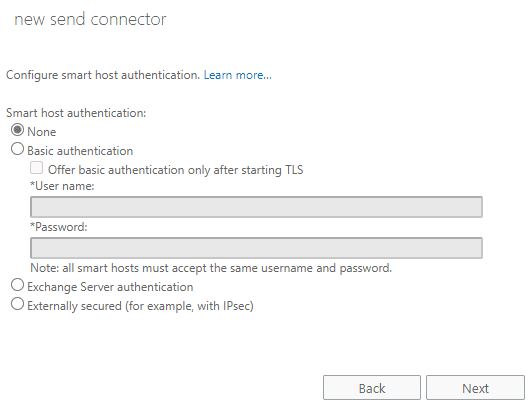 set smart host authentication for send connector in Exchange Server