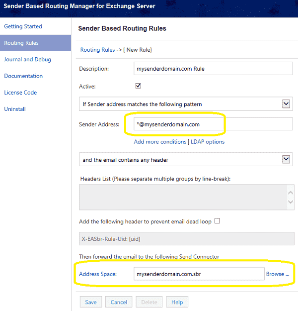 create sender based routing rule in Exchange Server