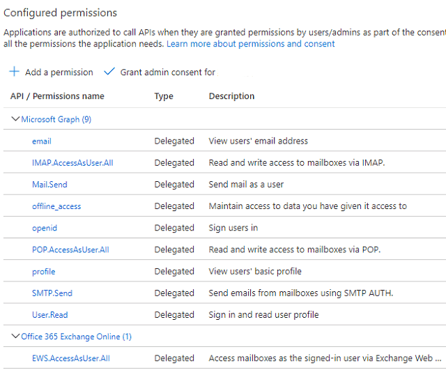 azure application api permission list