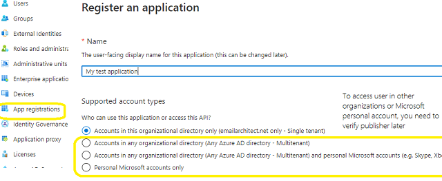 azure portal new app registration