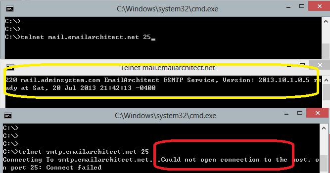detect SMTP connection using telnet