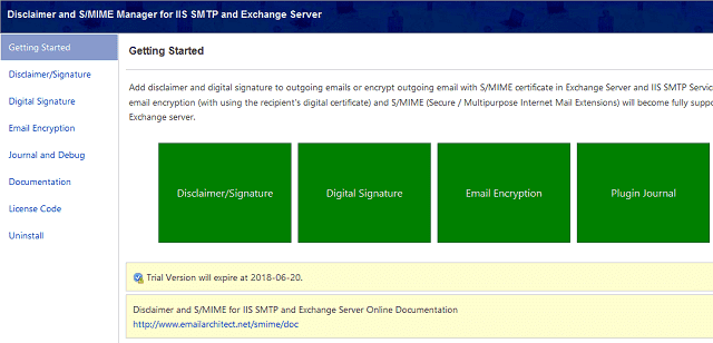 Disclaimer and S/MIME manager for Exchange Server