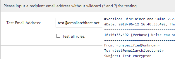 Test email encrypting in Exchange Server