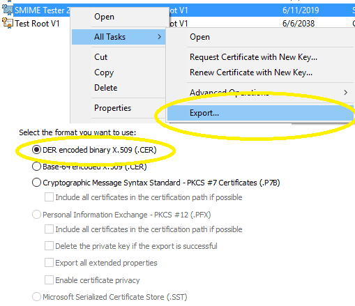 Export certificate to .cer file