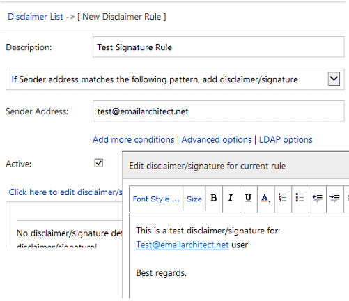 Create disclaimer/signature in Exchange Server